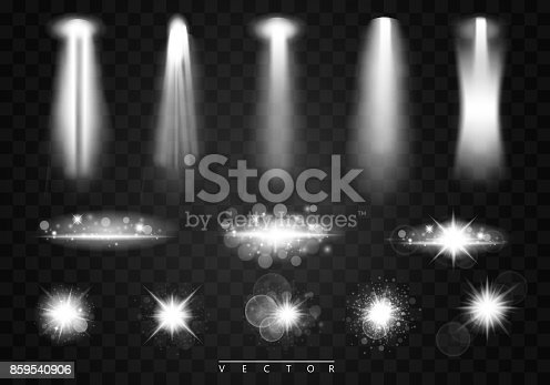 istock Vector Spotlights. Scene. Light Effects. Shining star, the sun particles and sparks with a highlight effect, golden bokeh lights glitter and sequins. On a dark background transparent. Vector, EPS10. 859540906