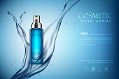 vector spray bottle fresh aroma cosmetic mockup on blue background, with your brand, ready for print ads or magazine design. Transparent and shine, realistic 3d style