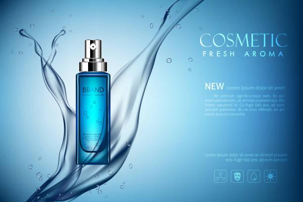 illustrazioni stock, clip art, cartoni animati e icone di tendenza di vector spray bottle fresh aroma cosmetic - spruzzo profumo
