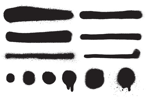 Vector spray paint splatter set isolated on white background. Aerosol paint strokes and spots in black color. Grunge texture effect. Graffiti brush collection. Element for your design.