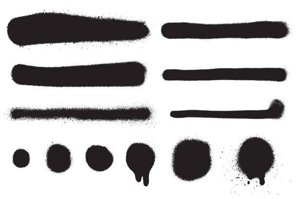 wektor spray farby rozprysk izolowane na białym tle. pociągnięcia farby aerozolu i plamy w kolorze czarnym. efekt tekstury grunge. kolekcja pędzli graffiti. element do twojego projektu. - spray stock illustrations