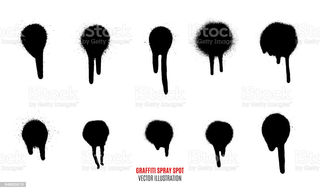 Vector spray paint spot. Graffiti spray spot set. vector art illustration