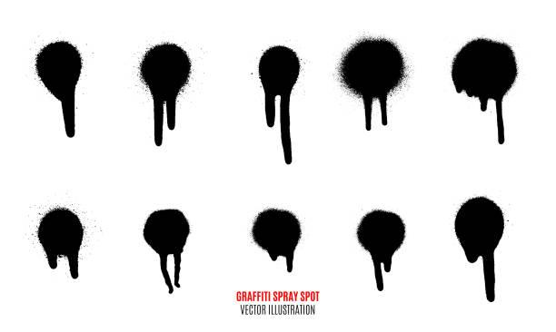 vector spray paint spot. graffiti spray spot set. - graffiti texture stock illustrations, clip art, cartoons, & icons