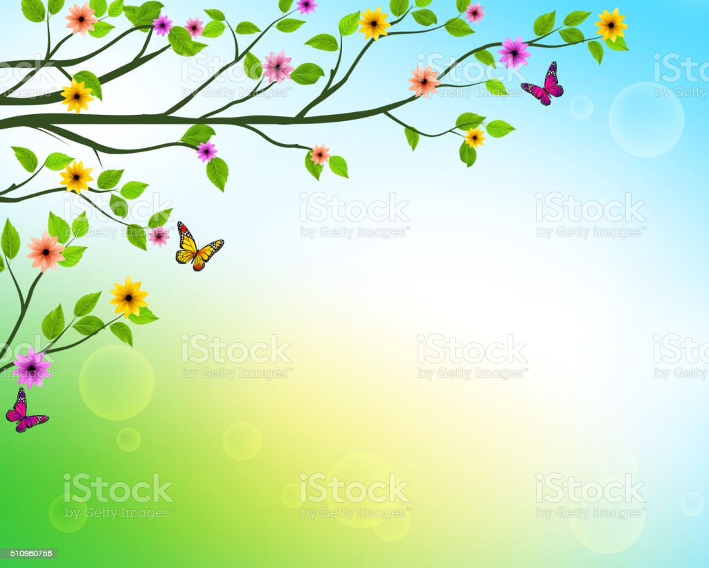 Vector Spring  Background of Tree Branches with Growing Leaves vector art illustration