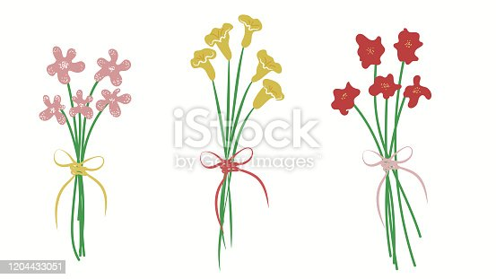 istock Vector spring colourful flowers for a holiday greeting cards 1204433051