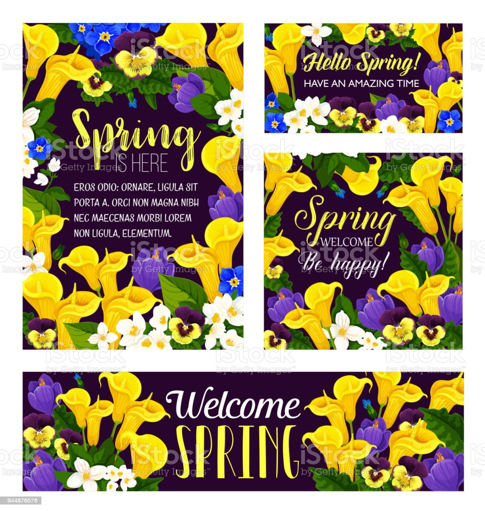 Vector Spring Flowers Seasonal Greeting Posters Stock Vector Art