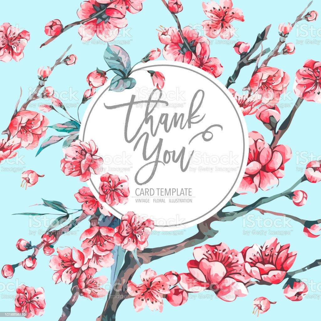 Vektor-Frühling-Grußkarte mit rosa blühende Zweige – Vektorgrafik