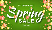 Vector Spring Sale banner with typographic calligraphic lettering text on bright green background colorful paper yellow, red, orange paper flowers. Sale vector 50 percent off. Hand drawn calligraphy.