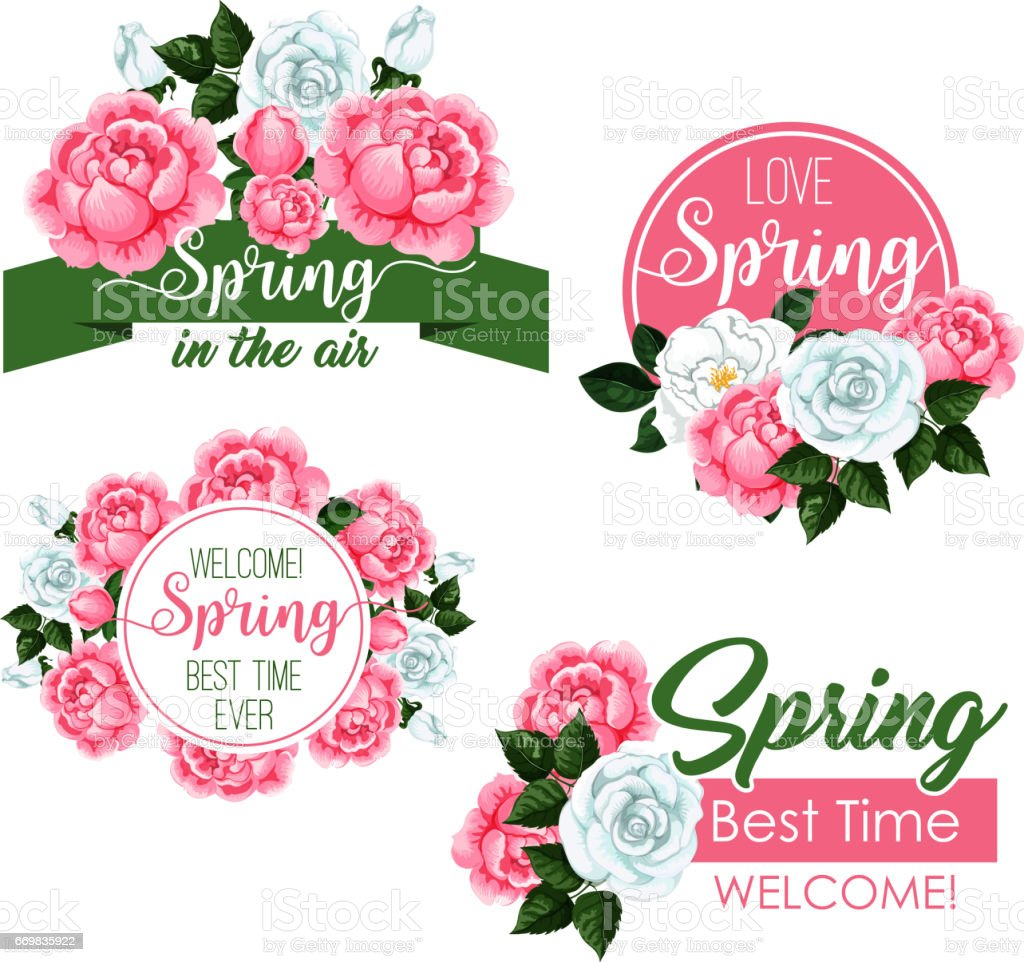 Vector Spring Time Greeting Quotes And Flowers Set Stock Vector Art ...