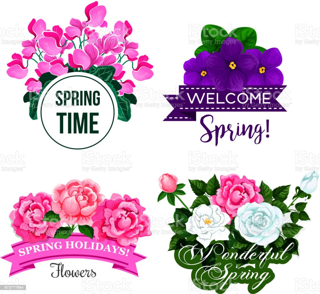 Vector Spring Time Greeting Quotes Flowers Design Stock Vector Art ...