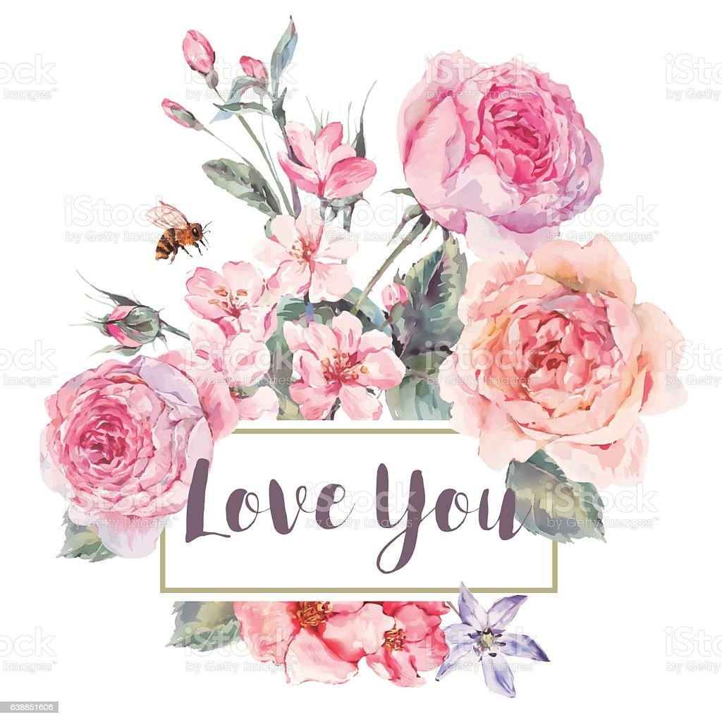 Vector spring vintage floral greeting card with bouquet of roses - ilustración de arte vectorial