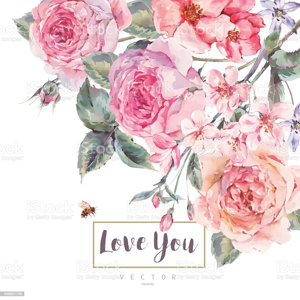 Vector spring vintage floral greeting card with bouquet of roses vector art illustration