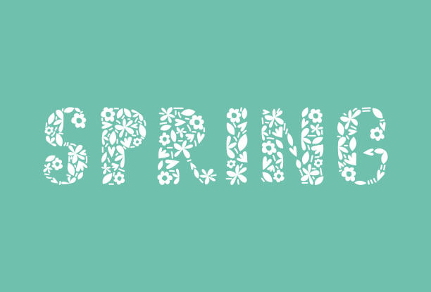 Vector Springtime Flower Alphabet Letters Springtime letters created with flowers on mint background. meer stock illustrations