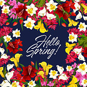 Vector springtime flowers seasonal poster