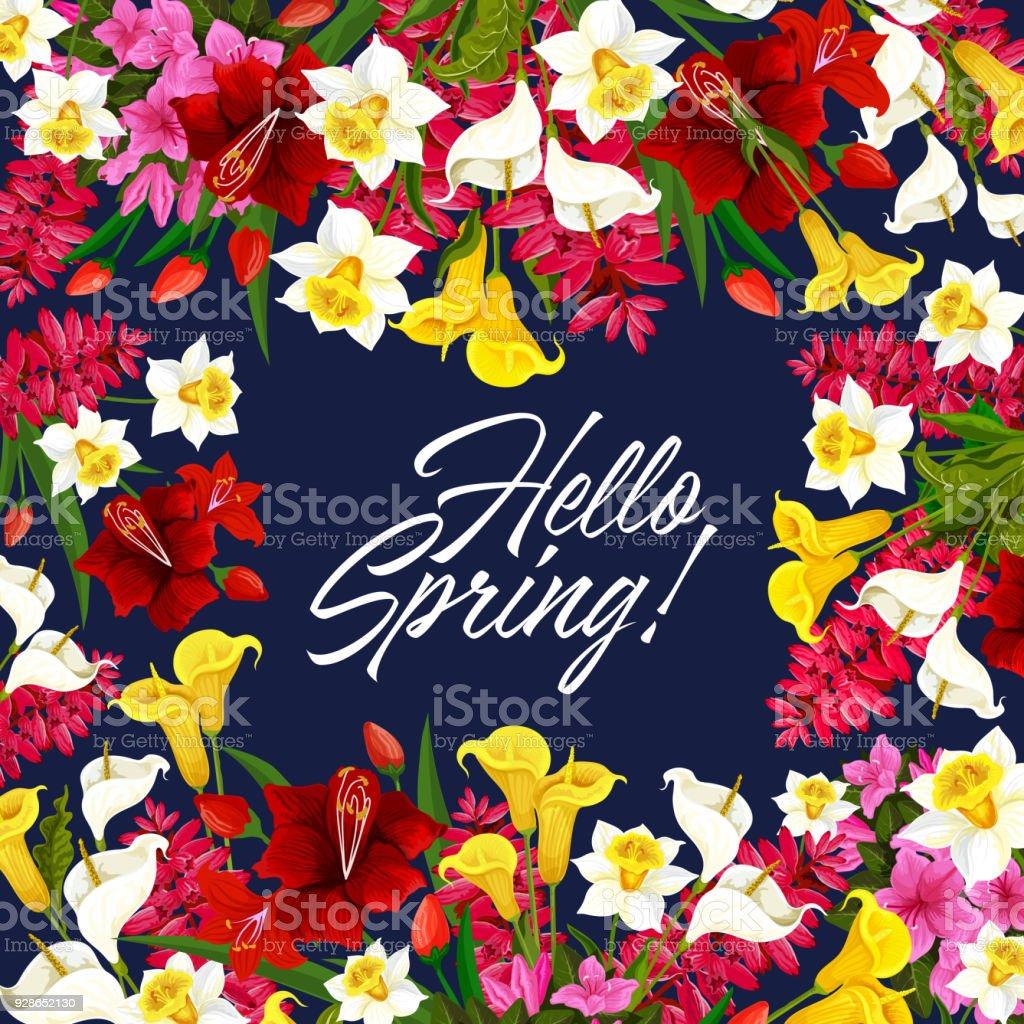 Affiche saison de vecteur printemps fleurs - Illustration vectorielle
