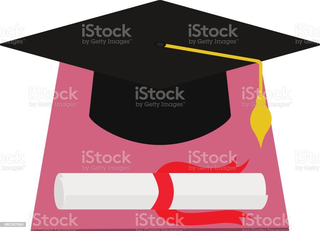 Vector square academic cap and diploma graduation vector art illustration