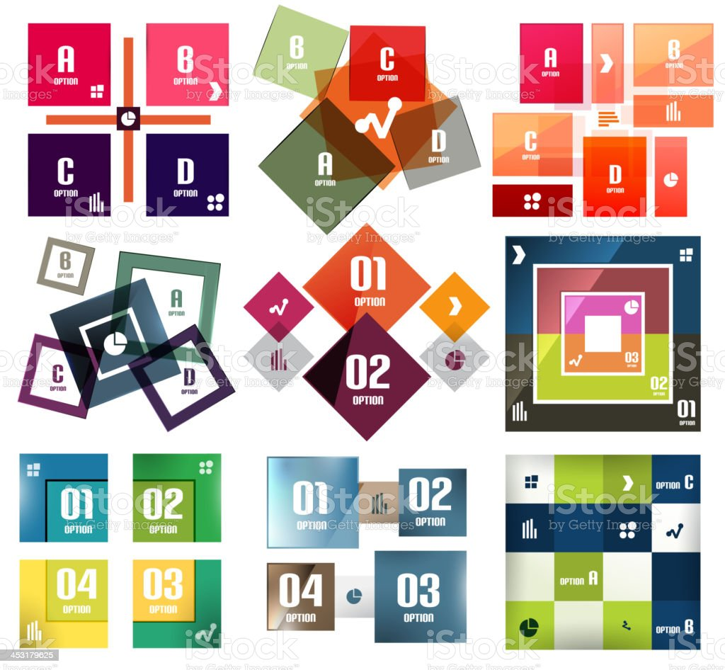 Vector square banners templates set vector art illustration