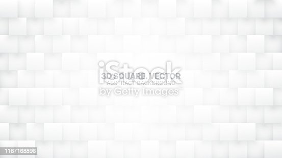 869478294 istock photo 3D Vector Square Blocks White Abstract Background 1167168896