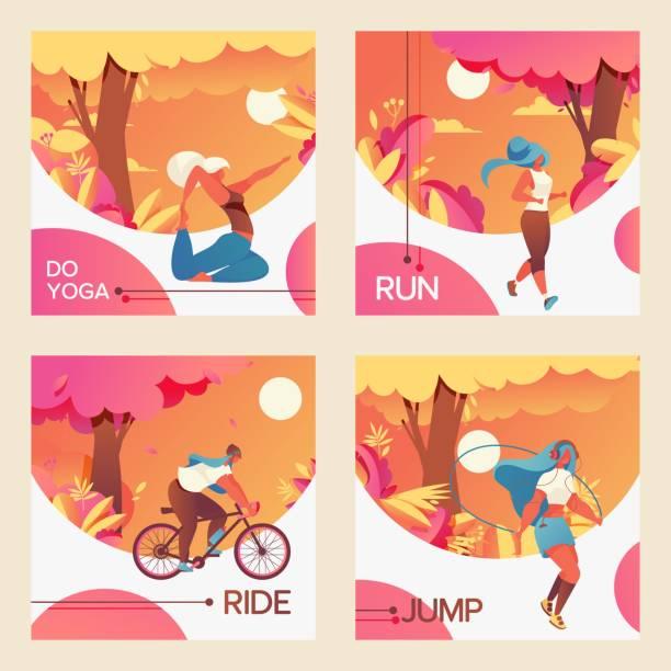 bildbanksillustrationer, clip art samt tecknat material och ikoner med vector fyrkantiga kort med unga flickor ridning bycicle, gör youga, hoppning med hopprep och jogging. - jogging hill