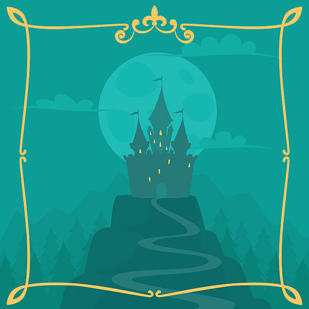Vector square cartoon background with castle on the hill Vector square cartoon background with castle on the hill fairy tale stock illustrations
