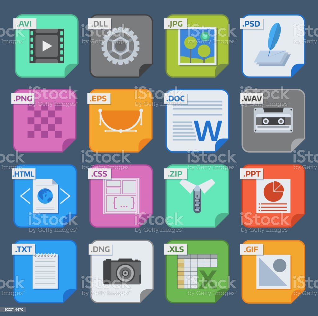 Vector square file types and formats labels icons set. File type format icons presentation document symbol. Audio extension file type icons graphic multimedia sign application software folder