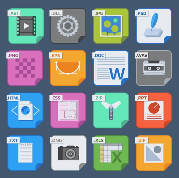 向量方檔案類型和格式標籤圖示設置。檔案類型格式圖示表示文檔符號。音訊擴展檔案類型圖示圖形多媒體簽名應用軟體資料夾 - gif 幅插畫檔、美工圖案、卡通及圖標