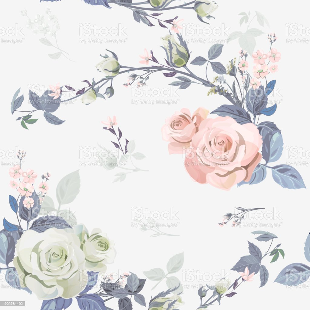 Vector square floral seamless pattern, branch curly pink rose, bouquet garden flowers, buds, leaves on white background, illustration for fabric, wallpaper, wrapping, pastel colored, vintage vector art illustration