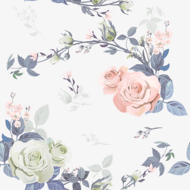 Vector square floral seamless pattern, branch curly pink rose, bouquet garden flowers, buds, leaves on white background, illustration for fabric, wallpaper, wrapping, pastel colored, vintage Vector square floral seamless pattern, branch curly pink rose, bouquet garden flowers, buds, leaves on white background, illustration for fabric, wallpaper, wrapping, pastel colored, vintage shabby chic stock illustrations