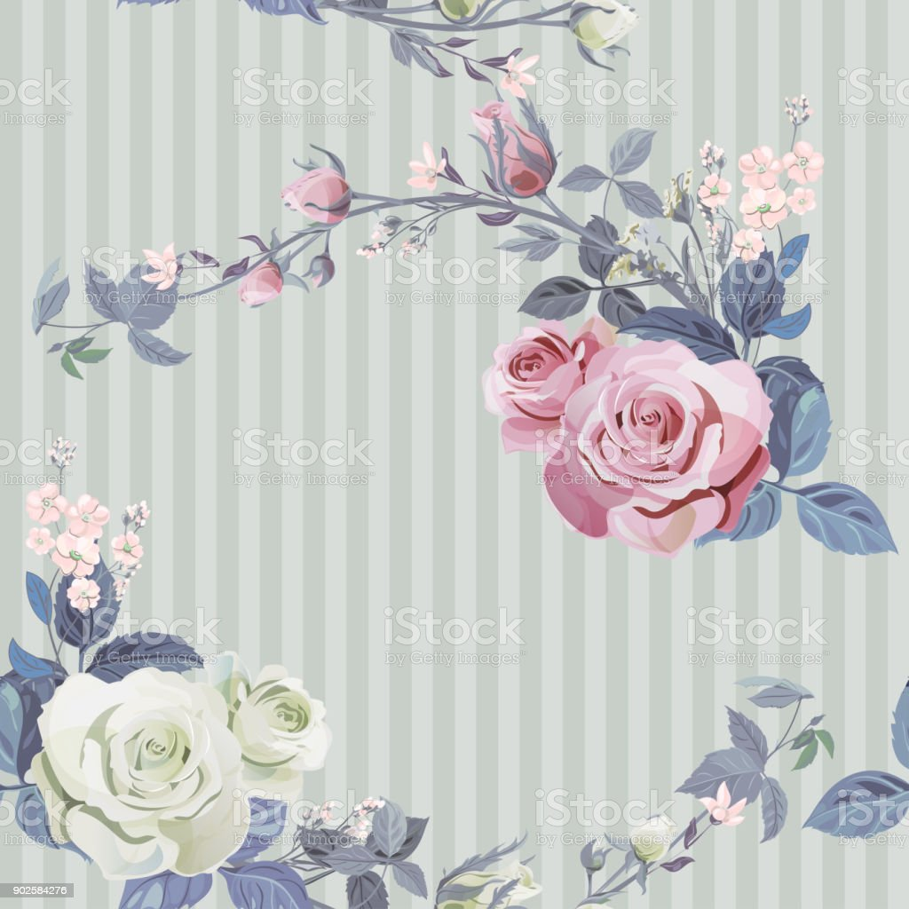 Vector square floral seamless pattern, branch white, pink rose, bouquet garden flowers, buds, leaves on green line background, illustration for fabric, wallpaper, wrapping, pastel colored, vintage vector art illustration