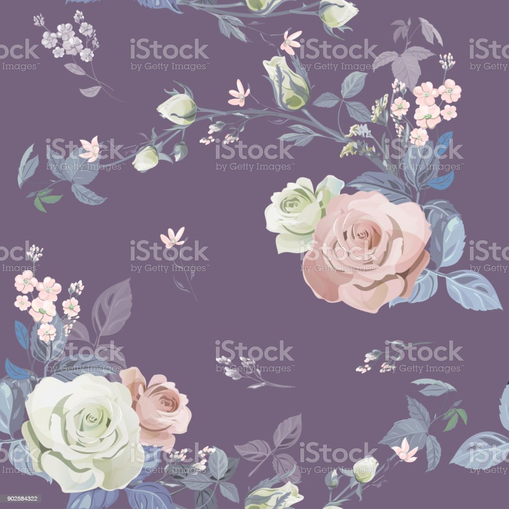 Vector square floral seamless pattern, branch white, pink rose, bouquet garden flowers, buds, leaves on purple background, illustration for fabric, wallpaper, wrapping, pastel colored, vintage vector art illustration