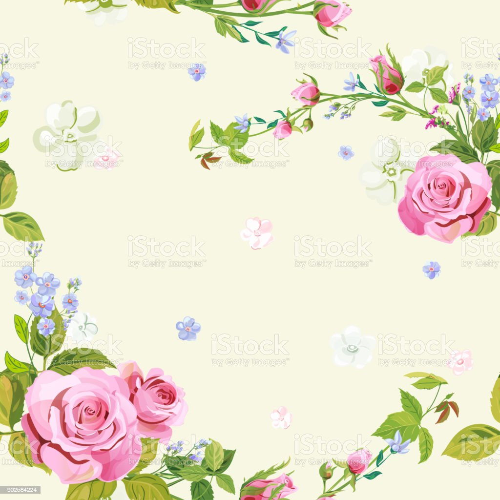 Vector square floral seamless pattern, curly pink rose, spring blossom, bouquet blue flowers forget-me-nots, green leaves on pale background, illustration for fabric, wallpaper, wrapping, vintage vector art illustration