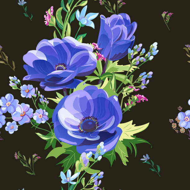 Royalty Free Forget Me Not Blue Flowers Bouquets Seamless Hand Drawn ...