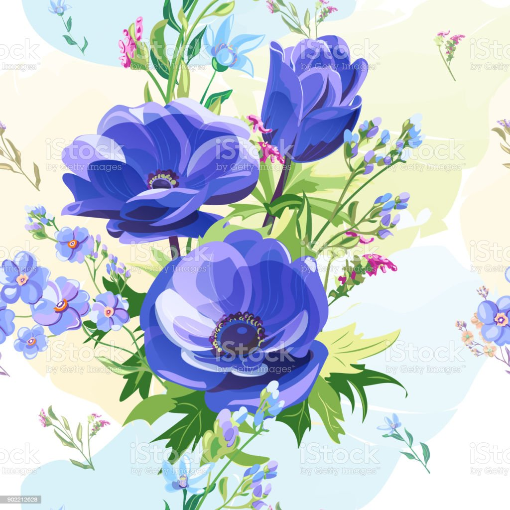 Vector square floral seamless pattern with blue poppy, forget-me-not, pink, red flowers, stems and leaves on colorful watercolor background, digital draw, decorative illustration, vector surface design vector art illustration