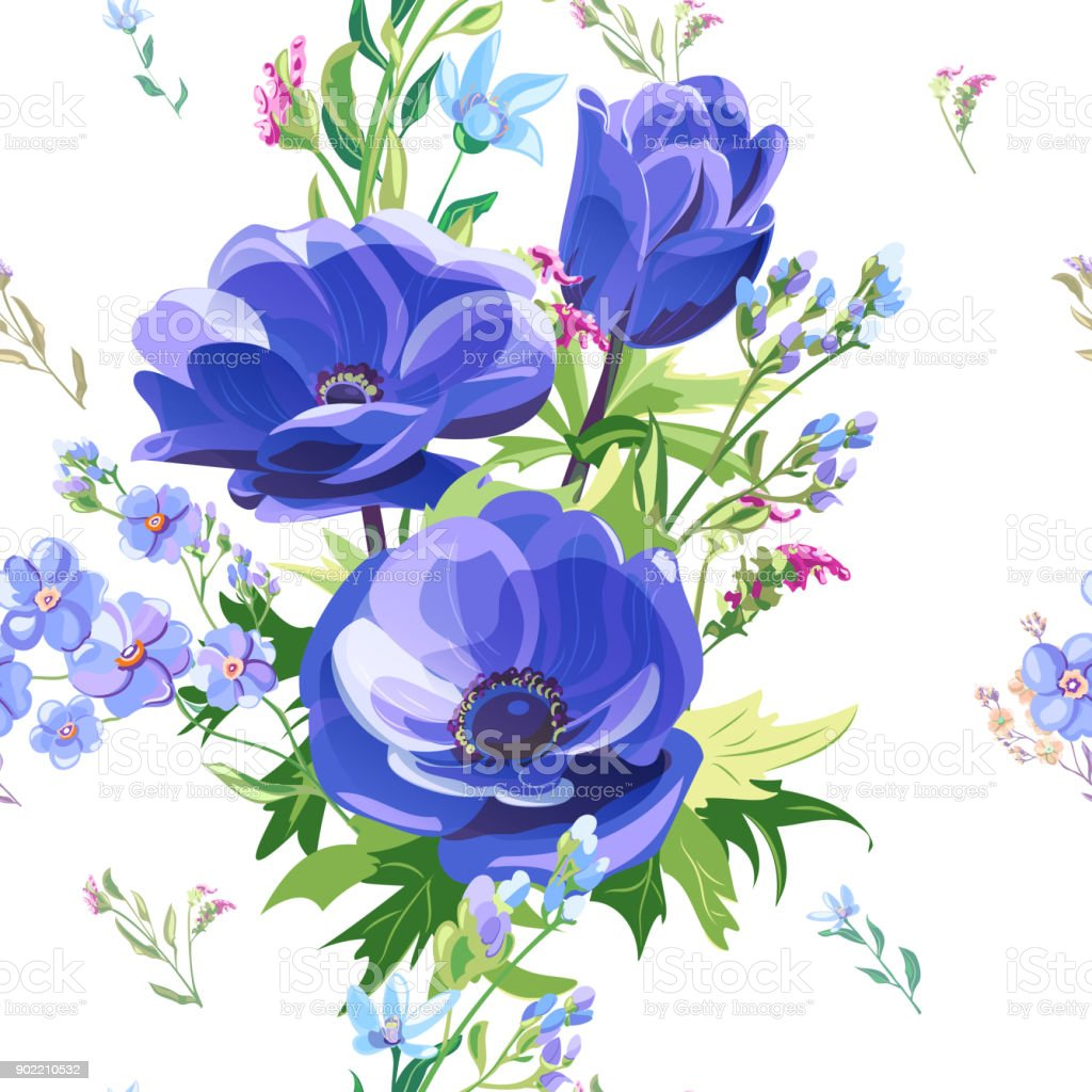 Vector square floral seamless pattern with blue poppy, pink, red flowers: forget-me-not, tweedia, stems and leaves on white background, digital draw, decorative illustration, vector surface design vector art illustration