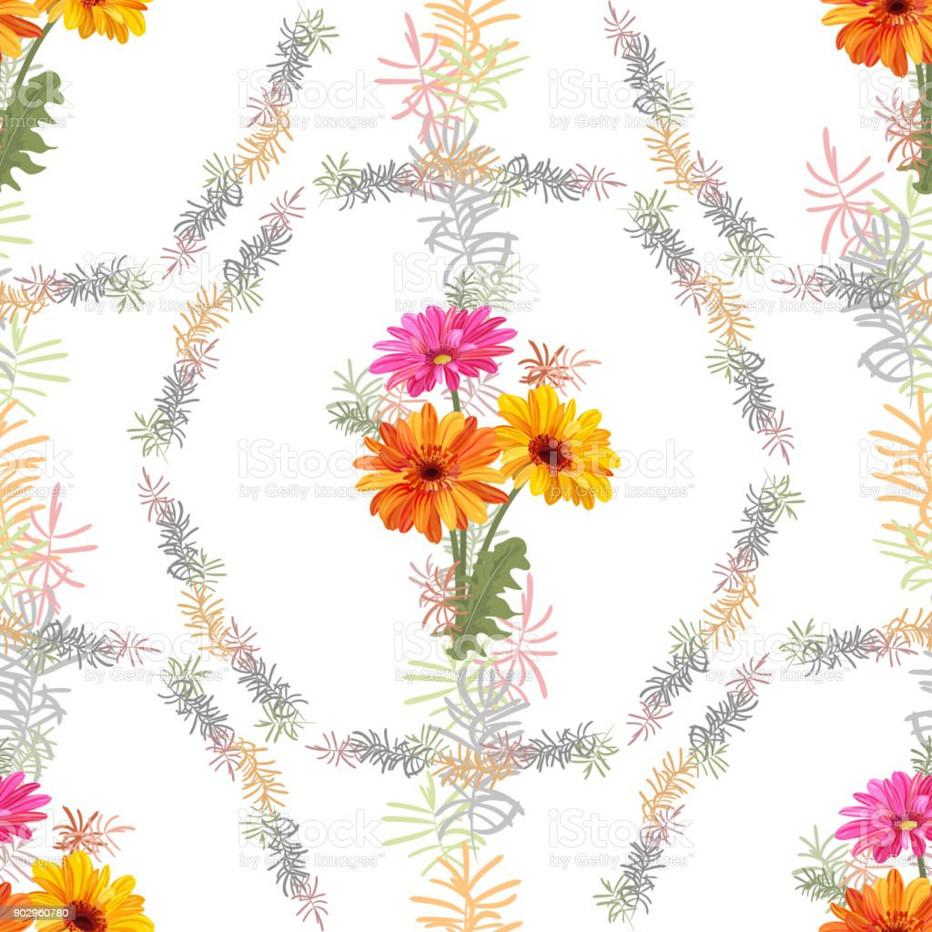 Vector square floral seamless pattern with bouquet of Gerbera daisy and small green twigs of Asparagus, flowers, leaves on white background, illustration for fabric, wallpaper, wrapping, vintage vector art illustration