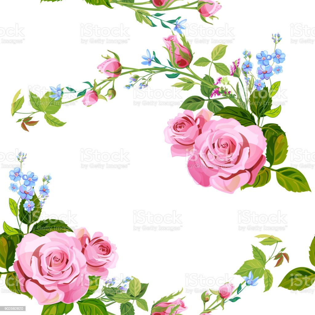 Vector square floral seamless pattern with branch curly pink rose, bouquet with blue flowers forget-me-nots, buds, green stems, leaves on white background, digital draw illustration, vintage, vector vector art illustration