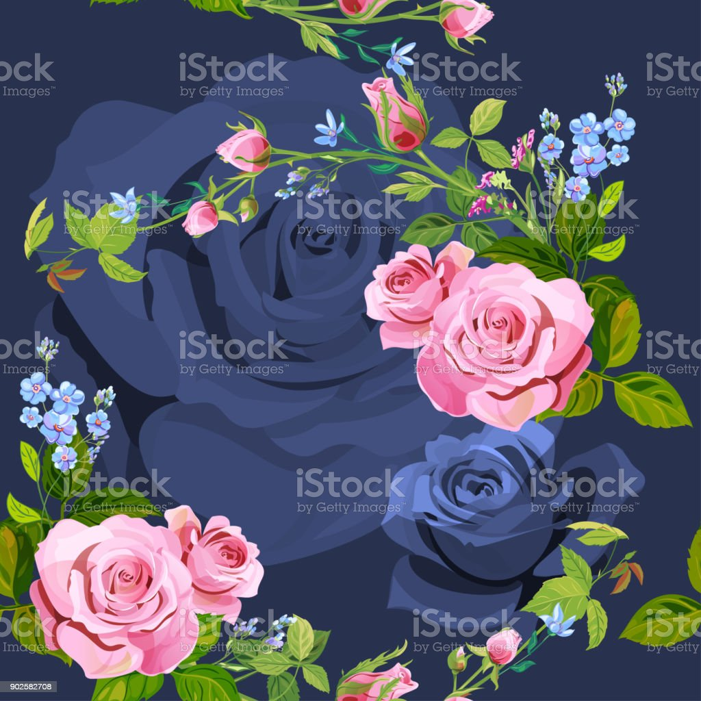 Vector square floral seamless pattern with branch curly pink rose, bouquet with blue flowers forget-me-nots, buds, green stems, leaves on dark background, digital draw illustration, vintage, vector vector art illustration
