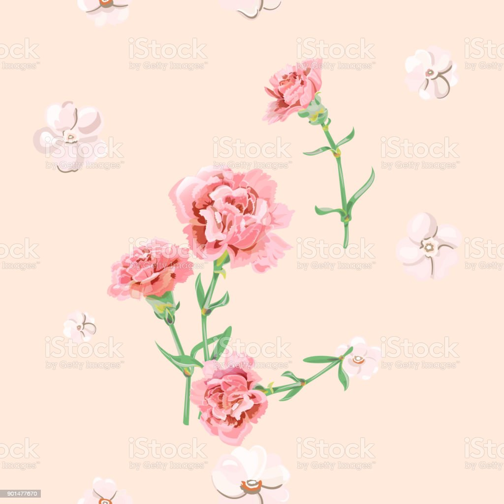 Vector square floral seamless pattern with carnation, pink, white flowers, green stems, leaves on pale background, digital draw illustration for fabric, wallpaper, wrapping, vintage vector art illustration