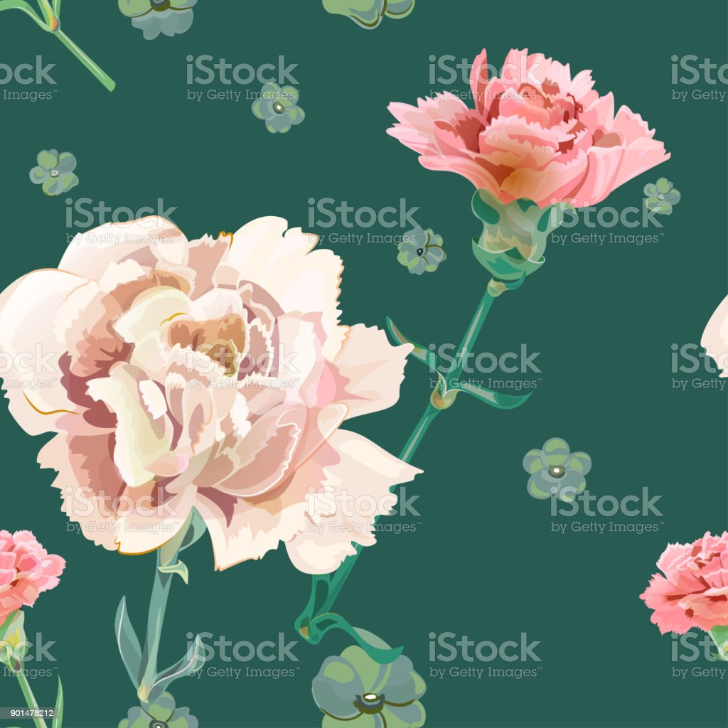 Vector square floral seamless pattern with carnation, pink, white flowers, green stems, leaves on drak green background, digital draw illustration for fabric, wallpaper, wrapping, vintage vector art illustration