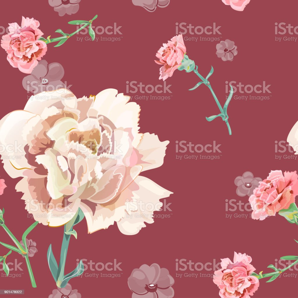 Vector square floral seamless pattern with carnation, pink, white flowers, green stems, leaves on drak scarlet background, digital draw illustration for fabric, wallpaper, wrapping, vintage vector art illustration
