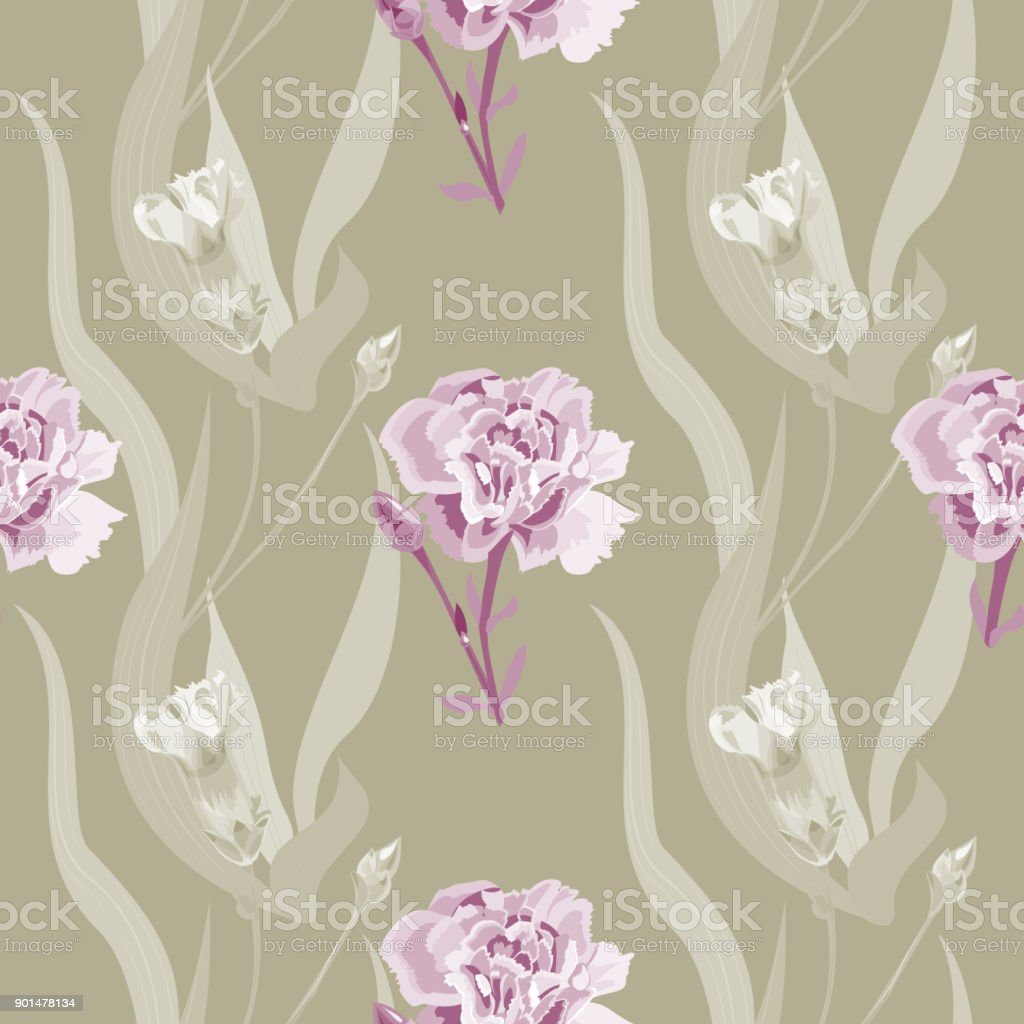 Vector square floral seamless pattern with carnation, red, burgundy flowers, buds, curly branch, green stems, leaves on gray-green background, digital draw illustration, vintage vector art illustration
