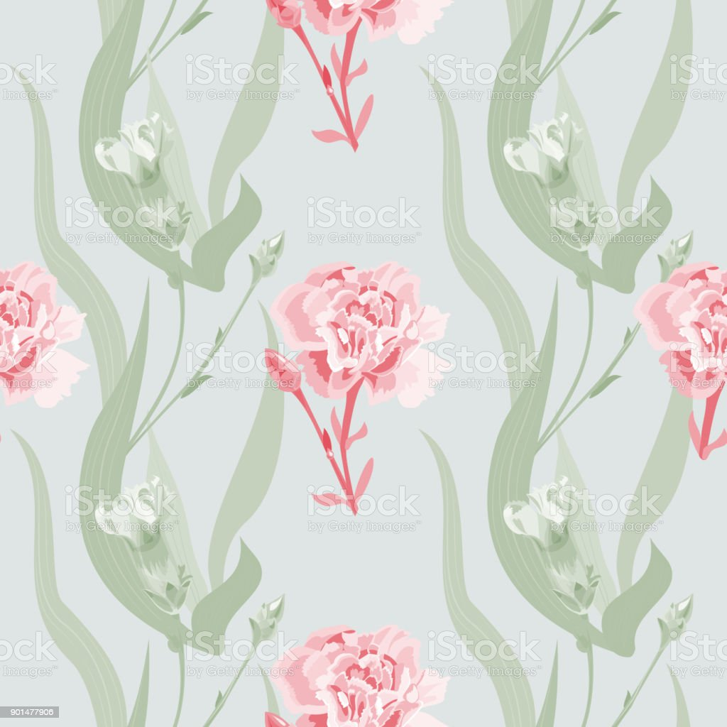 Vector square floral seamless pattern with carnation, red flowers, buds, curly branch, green stems, leaves on gray-green background, digital draw illustration, vintage vector art illustration