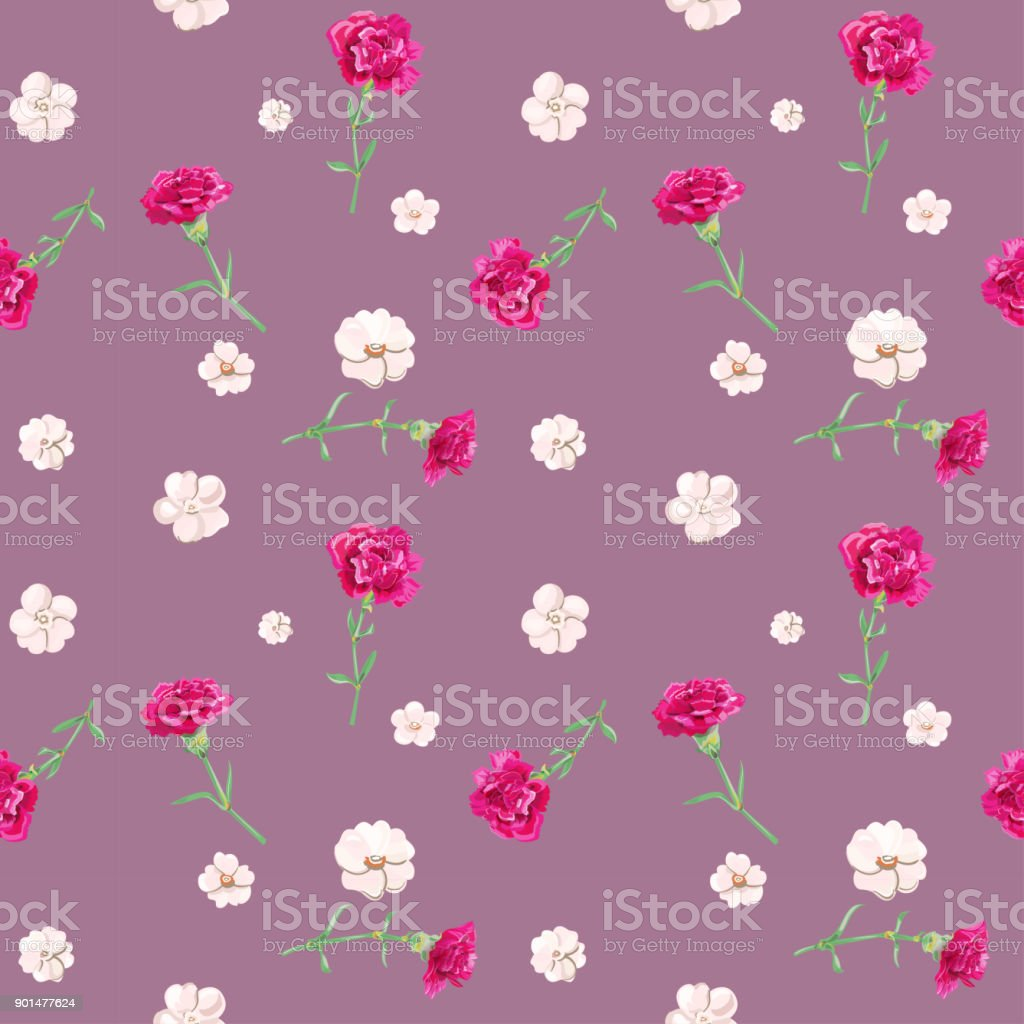Vector Square Floral Seamless Pattern With Carnation Red White