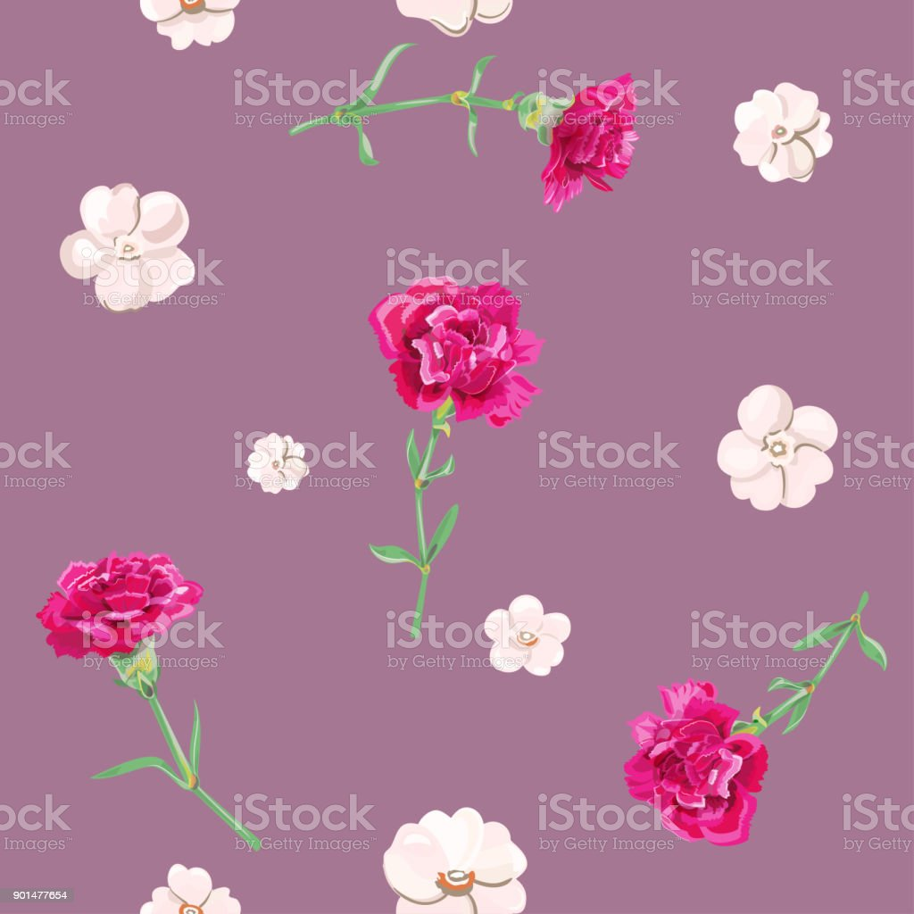 Vector square floral seamless pattern with carnation, red, white flowers, green stems, leaves on burgundy background, digital draw illustration for fabric, wallpaper, wrapping, vintage vector art illustration
