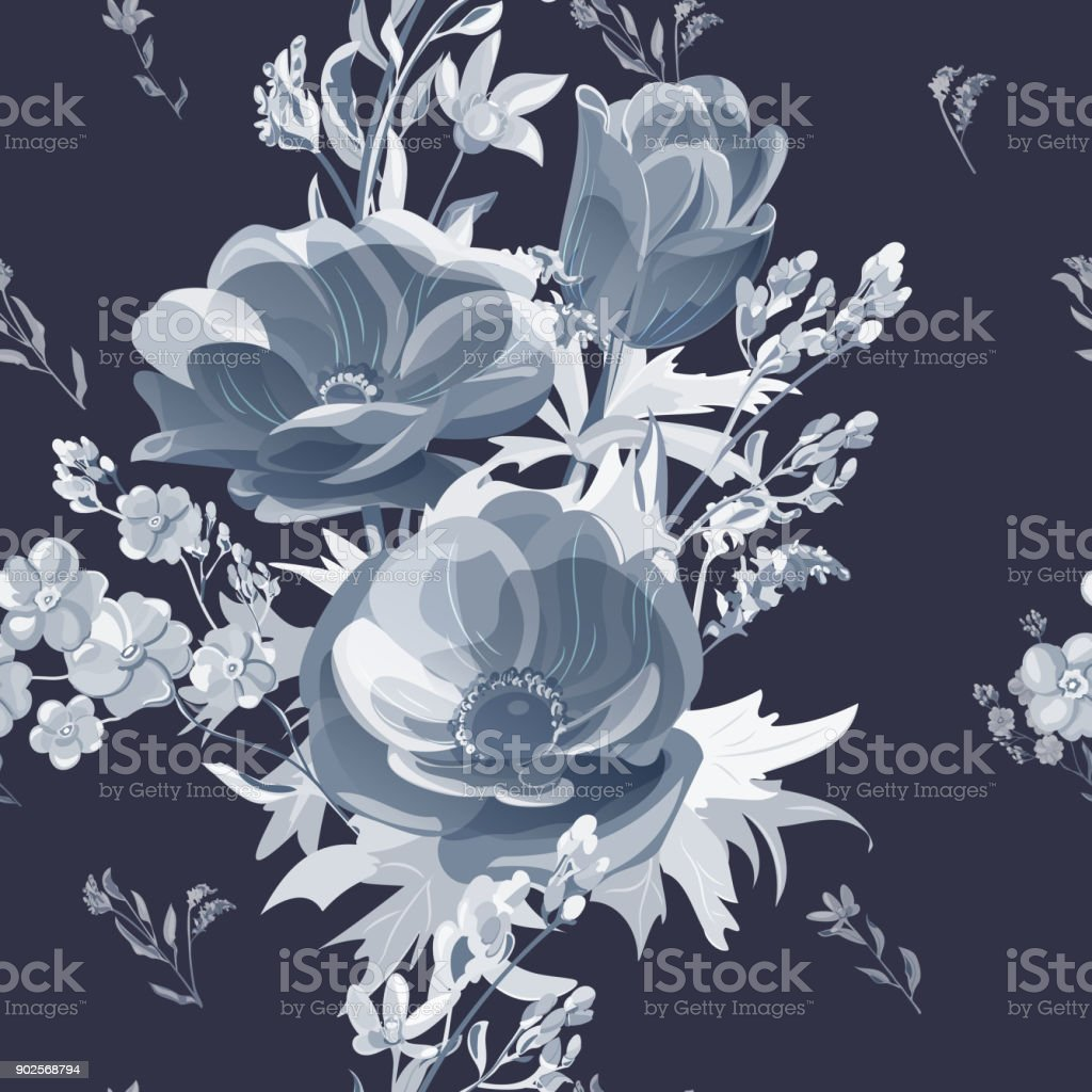Vector square floral seamless pattern with gray flowers, steel anemone, forget-me-not, stems and leaves on black background, digital draw, botanical illustration, surface design vector art illustration