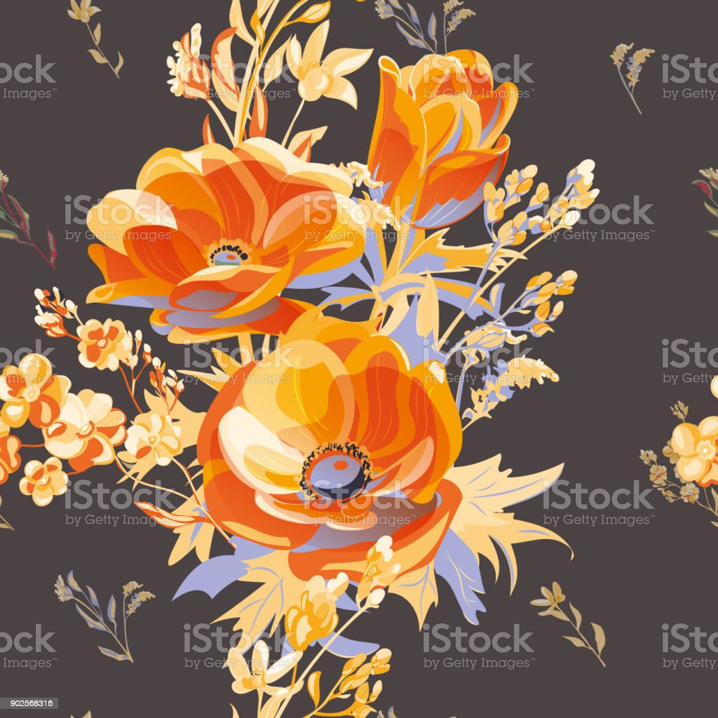 Vector square floral seamless pattern with orange, red flowers, anemone, forget-me-not, stems and leaves on black background, digital draw, botanical illustration, surface design vector art illustration