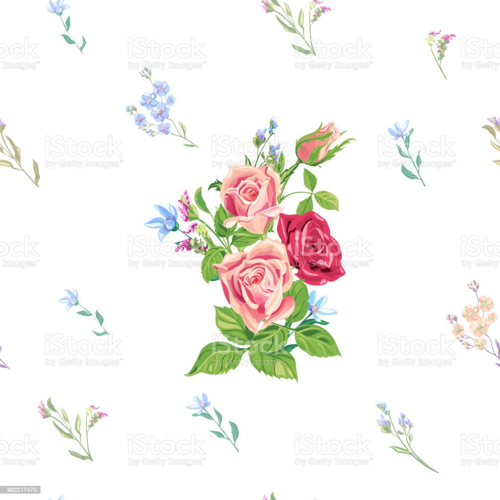 Vector square floral seamless pattern with pink, red roses, blue flowers and buds: forget-me-not, tweedia, stems and leaves on white background, digital draw, decorative illustration, surface design vector art illustration