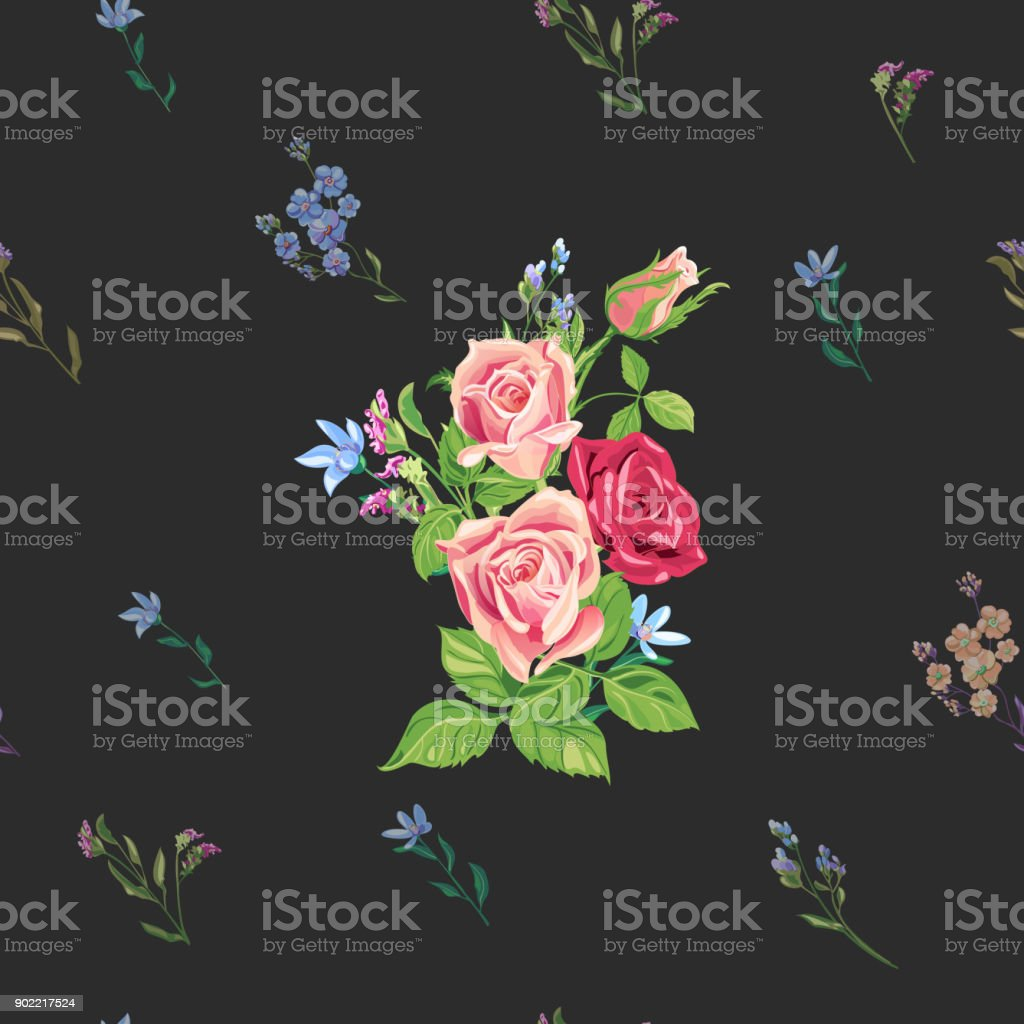 Vector square floral seamless pattern with pink, red roses, blue flowers and buds: forget-me-not, tweedia, stems and leaves on black background, digital draw, decorative illustration, surface design vector art illustration