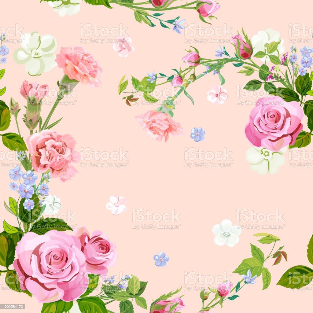 Vector square floral seamless pattern with pink rose, carnation, blue flowers forget-me-nots, spring blossom, buds, green stems, leaves on pink background, digital draw illustration, vintage, vector vector art illustration
