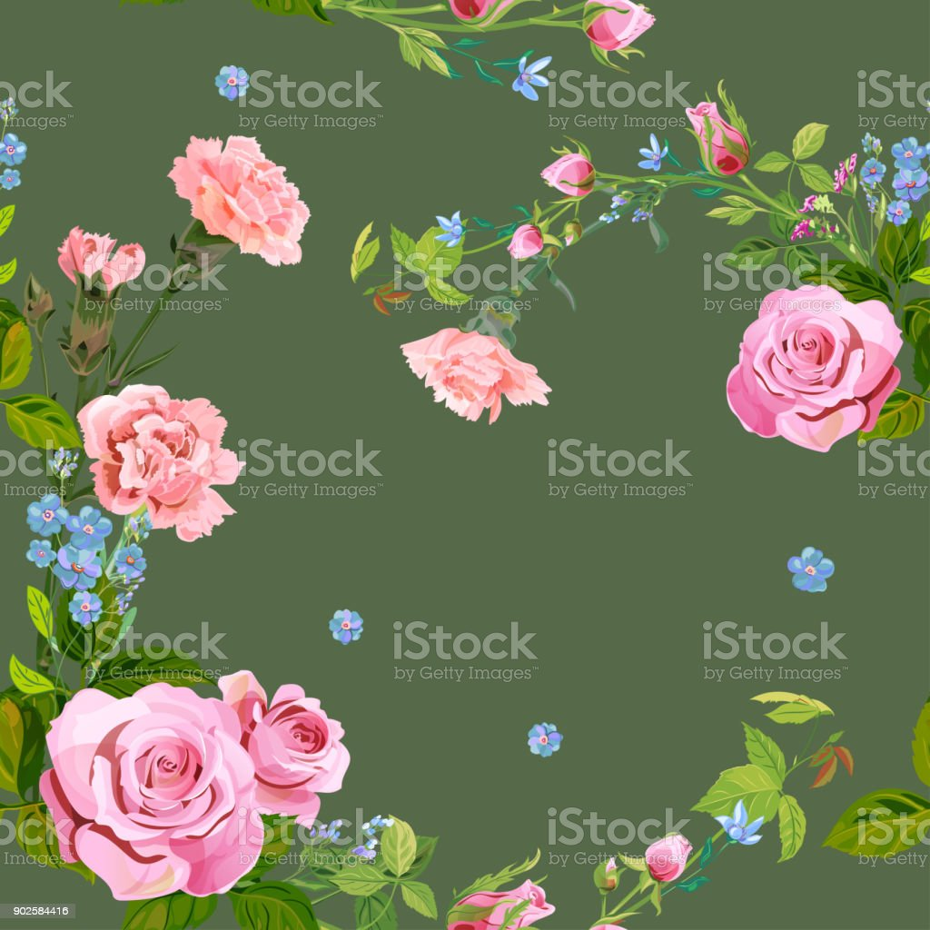 Vector square floral seamless pattern with pink rose, carnation, blue flowers forget-me-nots, buds, green stems, leaves on dark green background, illustration for fabric, wallpaper, wrapping, vintage vector art illustration